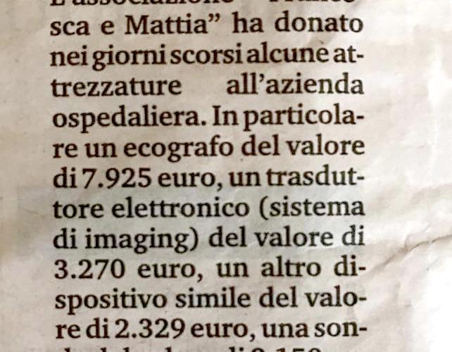 associazione-francesca-e-mattia-dona-dispositivi-ed-ecografo-ospedale-santa-anna-ferrara-per-progetto-aneurisma-articolo-giornale